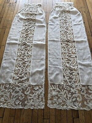 ANTIQUE LACE -CIRCA 1880-1900's, HAND MADE MILANESE LACE CURTAINS.
