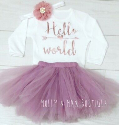 Baby Girls Luxury Newborn Hello World Vest & Tutu Skirt Set Baby Shower Gift Out