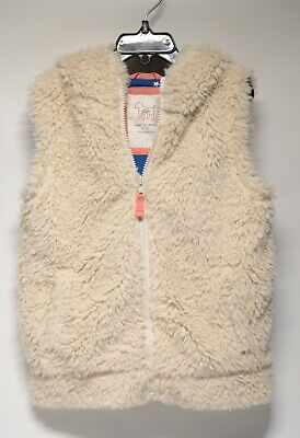 Mini Boden Faux Fur Sherpa Hooded Vest Size 6-7 Youth Cream/Tan