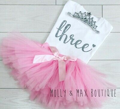 Girls Third 3rd Birthday Party Outfit Net Tutu Skirt T-Shirt Baby Pink Silver