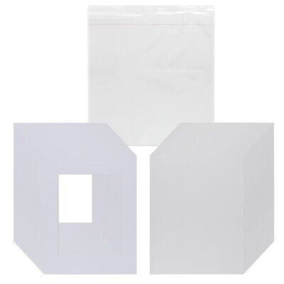 Viewpoint 25 White Picture Mats Pre Cut White Core Bevel w/ Backing & Seal Bags