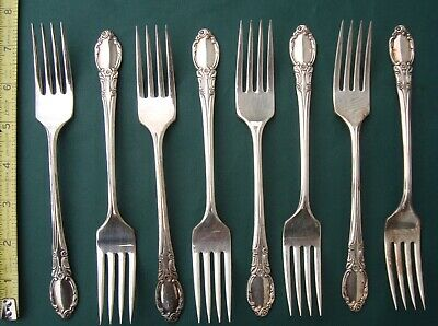 PARK LANE / CHATELAINE 8 Dinner Forks Silver Plate  Wm Rogers Oneida ltd