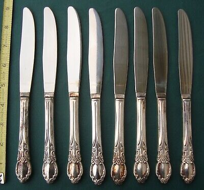 PARK LANE / CHATELAINE 8 Dinner Knives Silver Plate  Wm Rogers Oneida ltd
