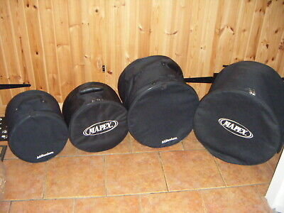 "MAPEX / MILLENIUM soft padded drum bags. Set of four. 10"" ,12"", 14"" & 16"" floors"