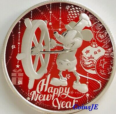 2017 Nieu 2$ Steamboat Willie Holly Blue Merry Christmas 1Oz Silver Coin