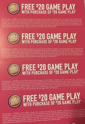 10 X Dave And Busters $20 Off Game Play Coupons Expires 3/31/2020