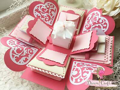 Pink Exploding Photo Slots Album Box Valentines Day Romantic Present