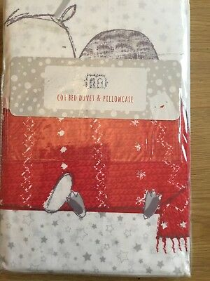 Mothercare Christmas / Santa Duvet Cover And Pillowcase For A Cot Bed Brand New