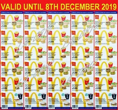 36 x MCDONALDS DEAL VOUCHERS COUPONS - VALID UNTIL 8TH DECEMBER 2019