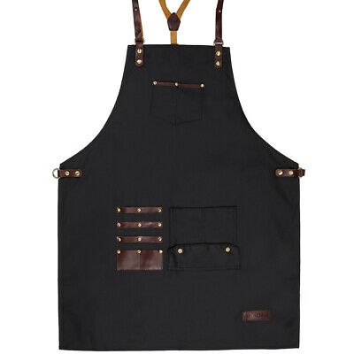 Professional Barber Apron / Waterproof PUL Fabric / Genuine Leather