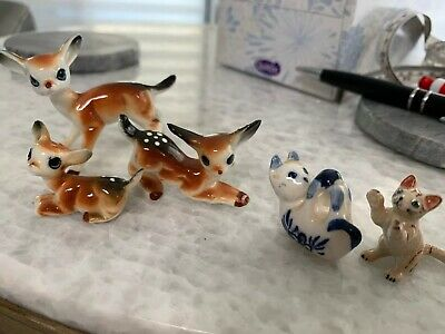 5 Little Vintage Ceramic Deer Baby Bambi  Cats Small Porcelain Figurines Fawn