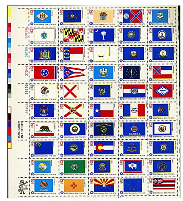 BICENTENNIAL STATE FLAGS (1976) #1633-82 Full Sheet of 50 Postage Stamps