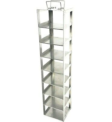 "Stainless Steel Petri Dish Freezer Rack Vertical Config 8 Box 5.125"" x 5.5"""