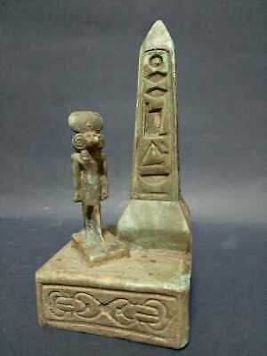 Rare Ancient Egypt Egyptian Antique BABOON Babi Statue AND OBELISK BC