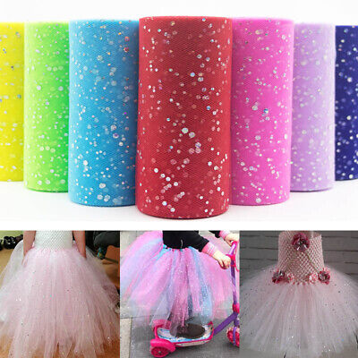 10Yds Glitter Sequin Tulle Roll Tutu Bouquet Bridal Fabric Wedding Party Decor