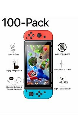 100 Pack Premium 9H Tempered Glass Screen Protector Guard For Nintendo Switch 6.