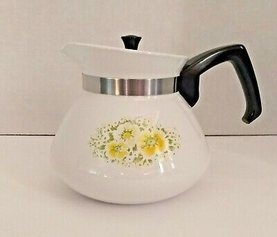 CorningWare April Print Tea Pot Yellow Green White Flower 6 Cup P-104 Metal Lid