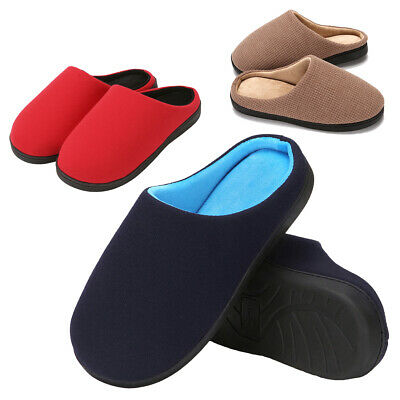Men's Winter House Slippers Comfortable Memory Foam Fleece Lined Flat Warm Shoes