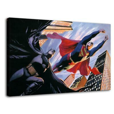 "12""x20""Superman and Batman HD Canvas prints Painting Home Decor Picture Wall art"