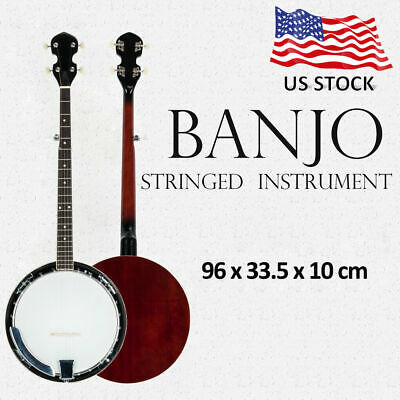 Professional Wood Metal 5-string Banjo Top Grade Exquisite White & Wood Color