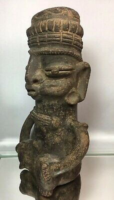 Large Pre-Columbian Seated Dignitary Terra Cotta Statue Vessel Pottery Artifact