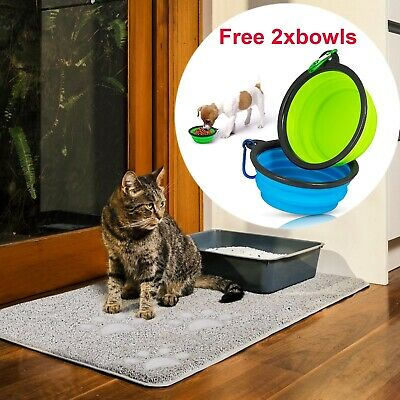 Portable Silicone Collapsible Pet Cat Dog Bowls with PVC Backing Pet Feeding Mat