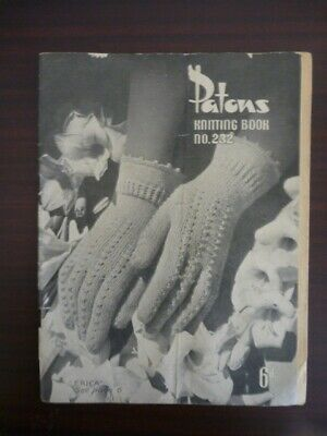 Vintage Patons Knitting Pattern Book #232 - Gloves & Cap  - 3 & 4 Ply