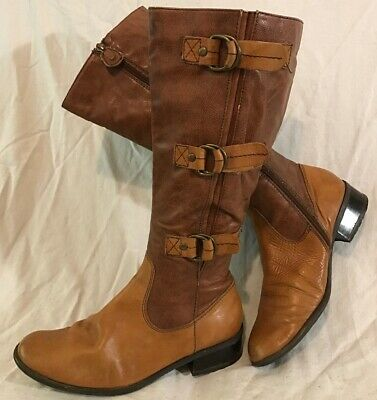 Jana Light Brown Mid Calf Leather Lovely Boots Size 5 (306Q)