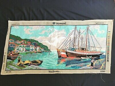Extra Large Vintage Completed Tapestry Fishing Boats Scene 110cm x 50cm