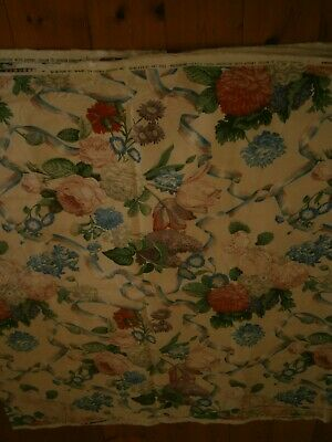 5th Ave Designs USA vintage cotton screen print floral on white - 4.6 x 1.4