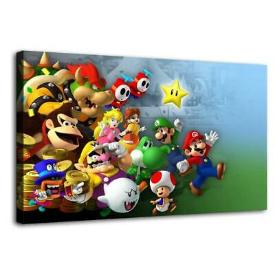 """12""""x22""""Mario Bros game posters Home Decor HD Canvas Print Wall Art Picture"""