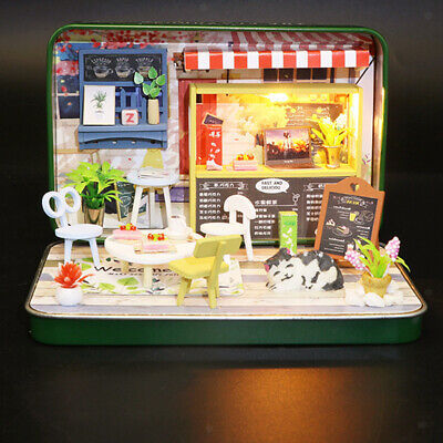 Summer Theater Dollhouse Miniature DIY Kit Wooden Toy Doll House w/LED Light