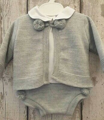 Spanish Style Baby Boy Grey Knitted Cardigan, Jam Pants and Top Set.