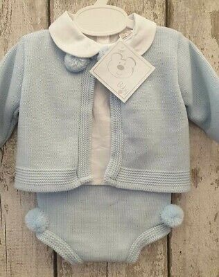 Spanish Style Baby Boy Blue Knitted Cardigan, Jam Pants and Top Set.