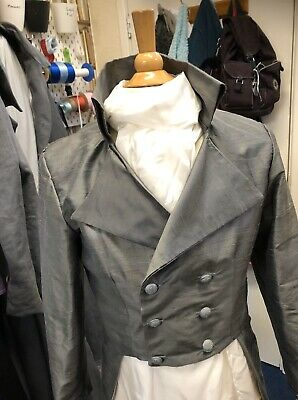 Regency Style Graphite Raw Silk Frock Coat