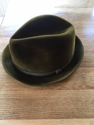 Fisher London Vintage Green Trilby Hat, Size 7 1/8, From Corbetts Mans Shop
