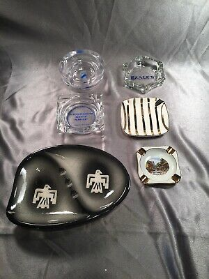 Lot Of 6 Vintage Glass And Ceramic Ashtrays