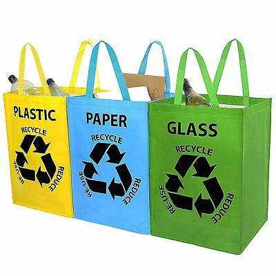 Set of 3 Recycling Bags Colour Coded for Plastic Glass Paper - Storage Bags