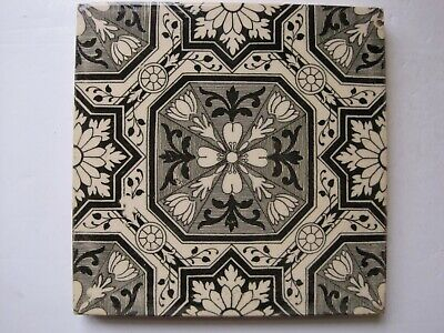 Antique Victorian Black & Grey On Buff Aesthetic Transfer Print Tile