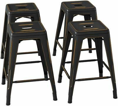 24 in Distressed Metal Bar Stool Set of 4 Outdoor High Backless Seat Stackable