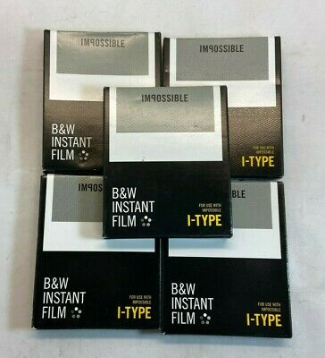 Lot of 5 Impossible Project B&W Instant Film I-Type 8 Exposures