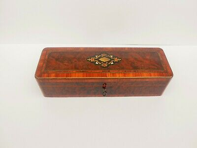 Antique French Box & Gloves Inlaid Brass & Marquetry Period Napoleon Iii 1880