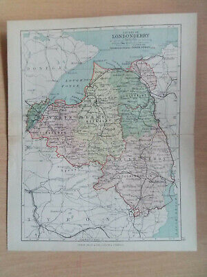 """LONDONDERRY COUNTY IRELAND ANTIQUE BARTHOLOMEWS COUNTY MAP DATED 1890 7""""x9"""""""