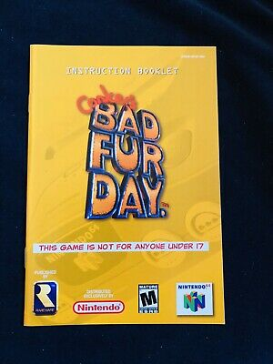 Conkers Bad Fur Day N64 Instructions Manual Booklet Great Condition!