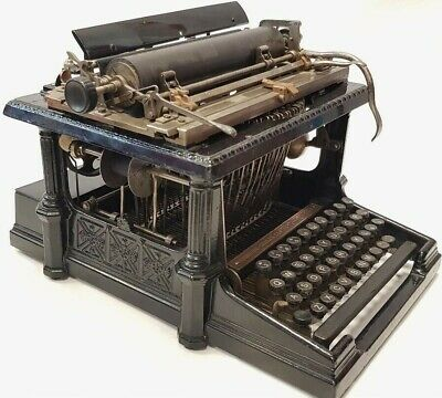 "Antigua maquina de escribir SHOLES REMINGTON ""greek temple"" rare TYPEWRITER 1893"
