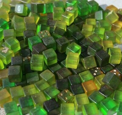 Bakelite USA 1950's    green 12mm cubes 300 grams some have dots