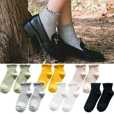 6 Pairs Socks Ruffle Ankle Casual Socks Knit Cotton Dress Boat Socks Women Girls