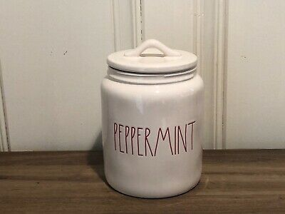 Rae Dunn Christmas By Magenta PEPPERMINT Farmhouse Medium Canister Red Letter
