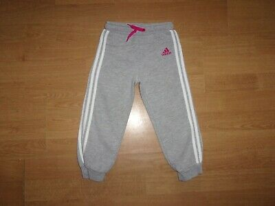 Adidas Silver Grey 'white three stripe' girls jogging bottoms age 2-3 years