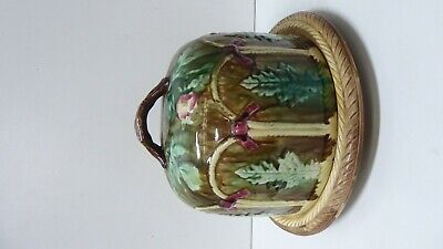 Antique Ceramic Pottery Majolica Embossed Cheese Dome Plate Rope Edge
